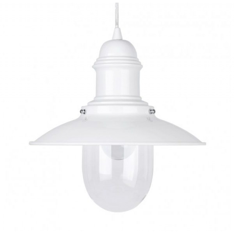 Fishermans 18019 White Nautical Ceiling Pendant & Glass Shade