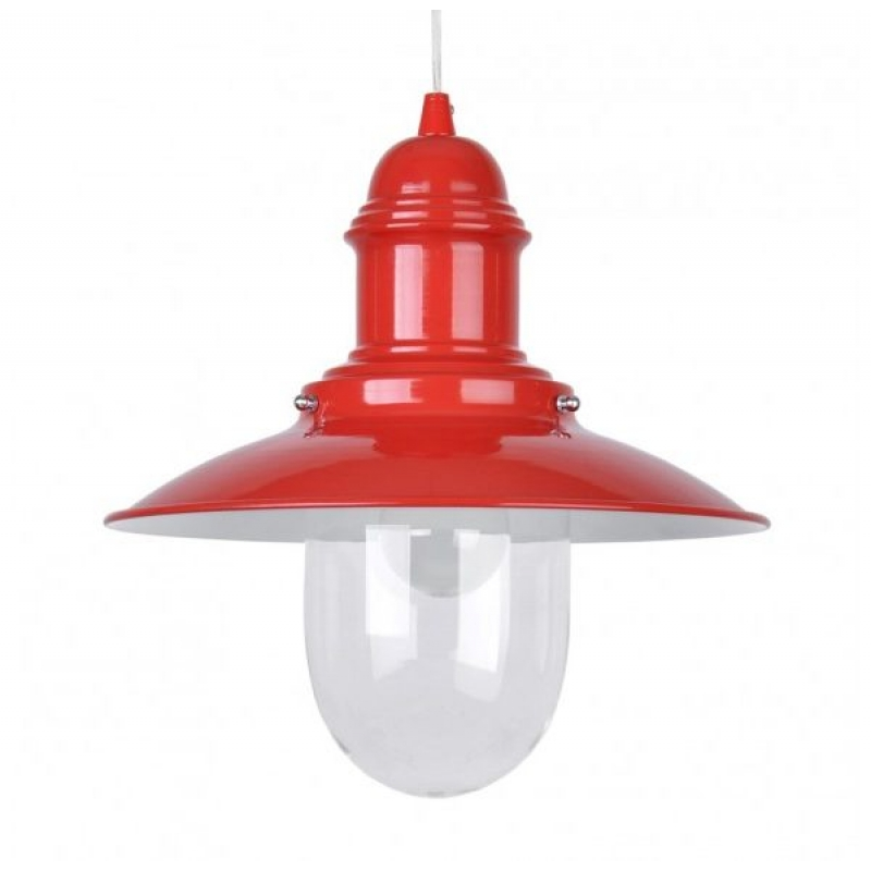 Fishermans 18021 Red Nautical Ceiling Pendant & Glass Shade