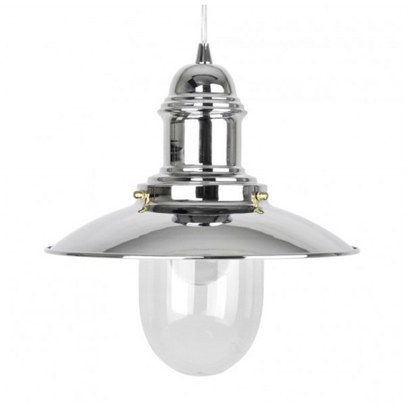 Fishermans 18022 Chrome Nautical Ceiling Pendant & Glass Shade