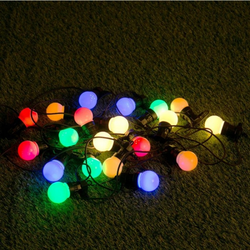 20 Multi Coloured Large Golfball LED Festoon String Lights - S8894