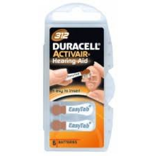 Duracell Hearing Aid Batteries - 312 Pack 6