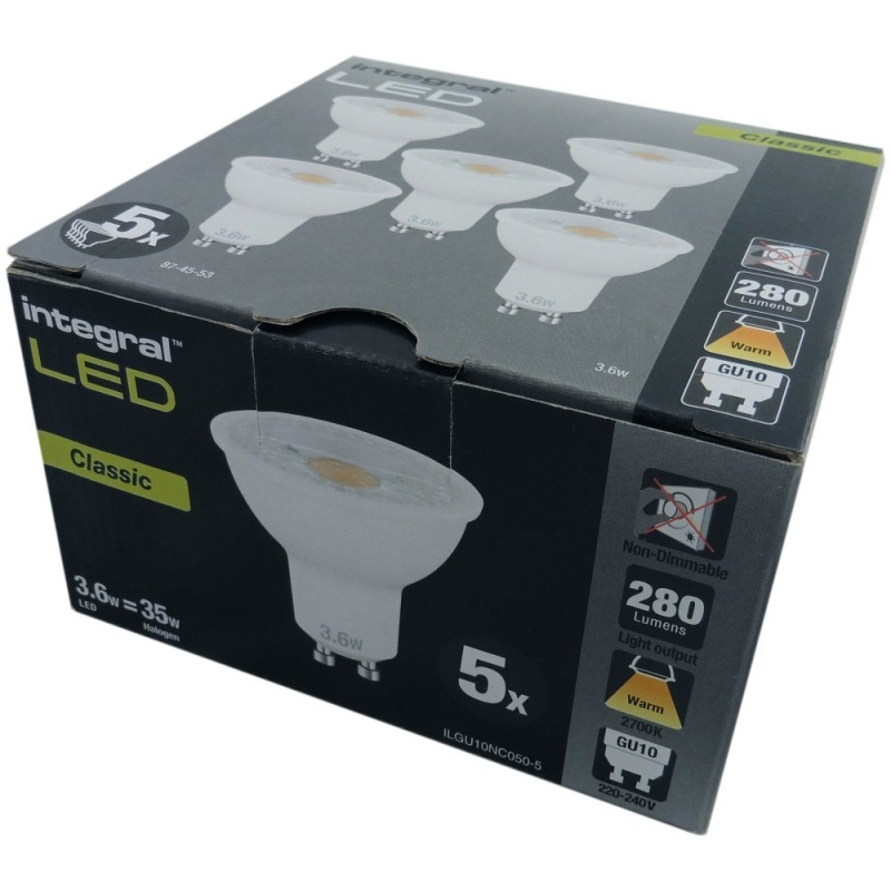 Integral 5 Pack 5W LED GU10 Warm White ILGU10NC052-5
