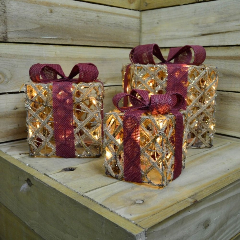 Gold Rope LED Gift Boxes with Red Ribbon