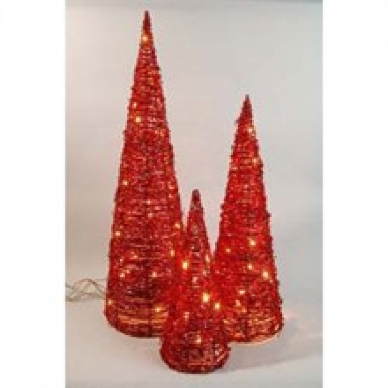 Red Rattan Cones – Christmas and Festive Lights 465094