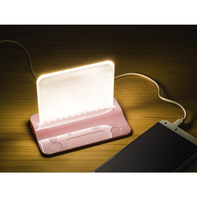 Integral LED Table Night Light in Pink with Pass Through Charger