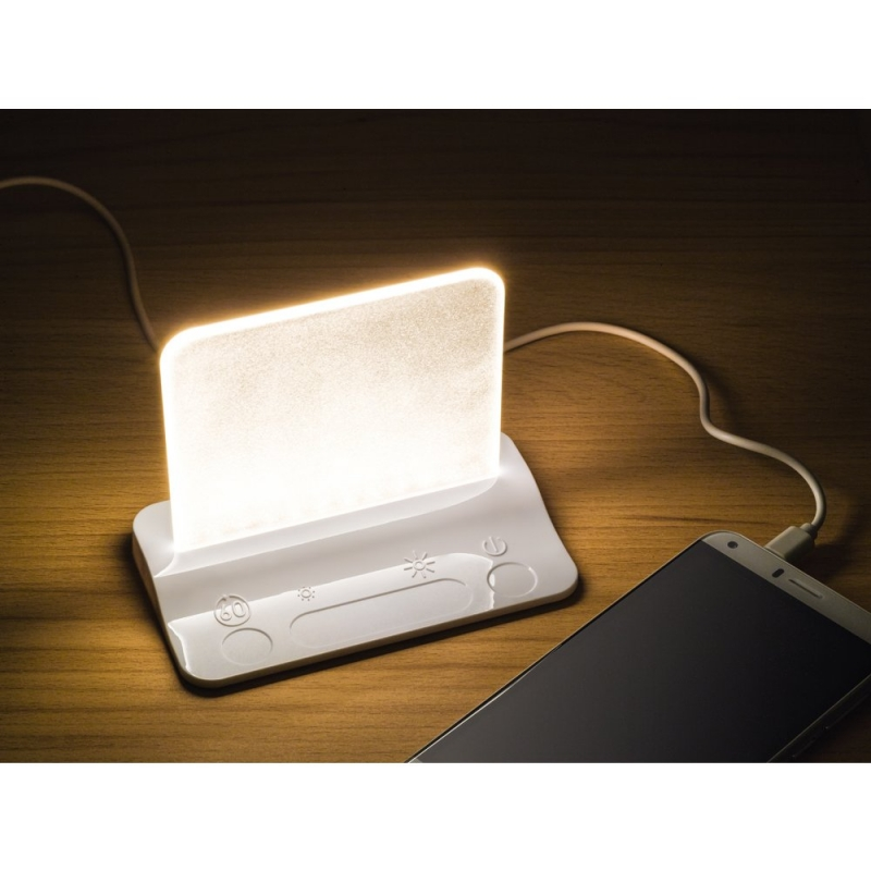 Integral LED White USB Table Night Light with USB Charging Port