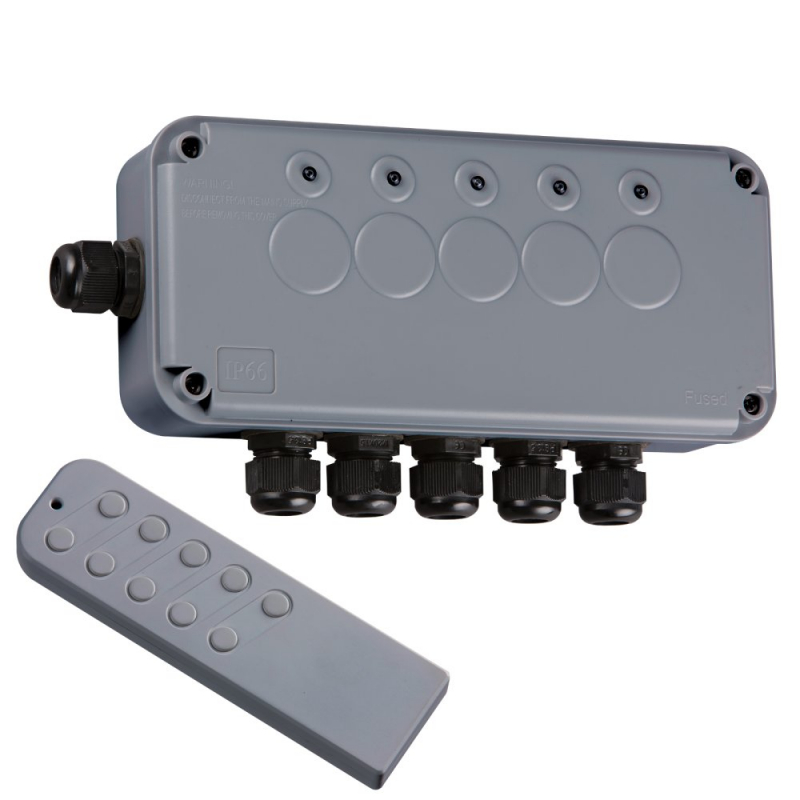 Knightsbridge IP66 13A 5Gang Remote Controlled Outdoor Switch Socket IP665G