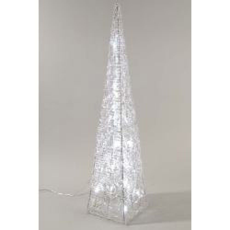 Silver Acrylic LED Pyramid 90cm – Christmas and Festive Lights 875111