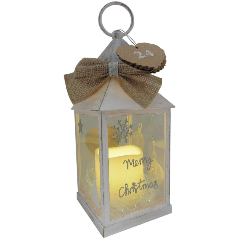Christmas Advent Lantern with LED Flameless Candle