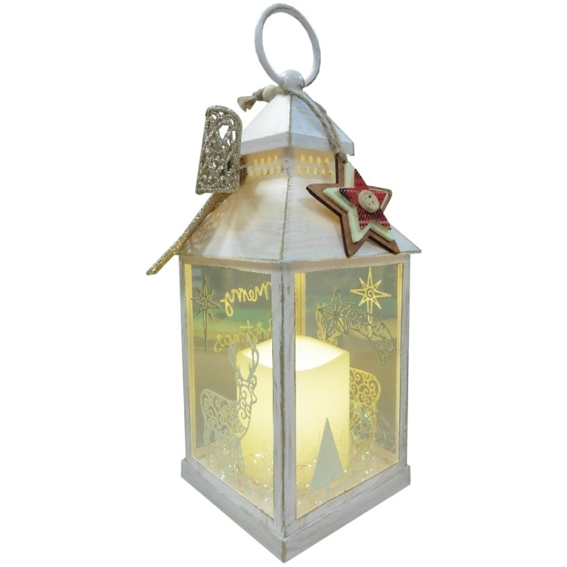 Christmas Lantern with LED Flameless Candle