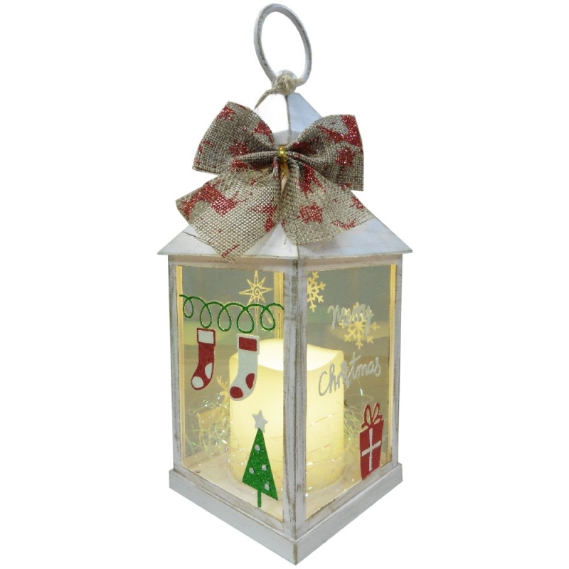 Christmas Lantern with LED Flameless Candle Red and Green