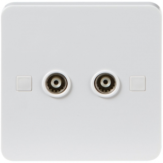 Pure Wiring Accessories Two Gang TV/FM Socket Isolated PU0130