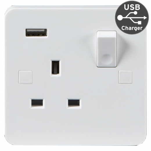 Pure Wiring 13A DP 1 Gang Switched Socket Single USB Charging PU9901