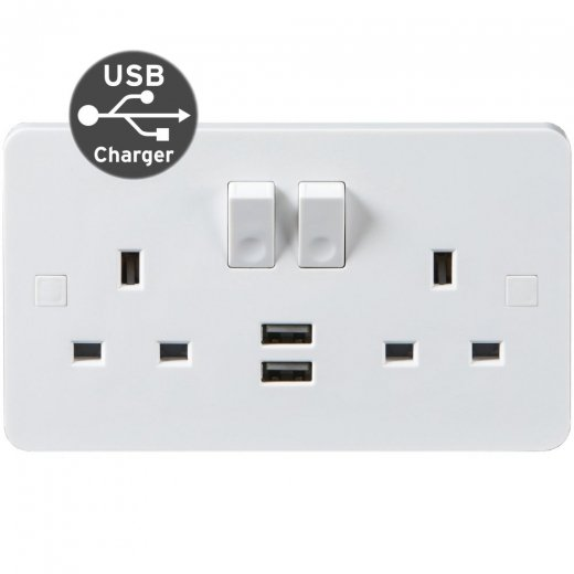 Pure Wiring Accessories 13A DP 2 Gang Dual USB Charging Outlet PU9902