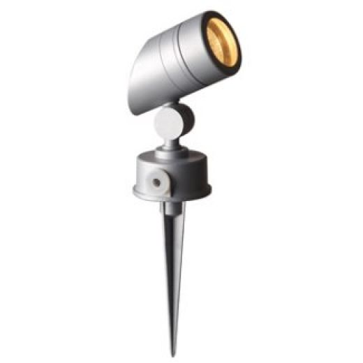 LED Robus GU10 50Watt Adjustable Sloped Satin Silver Garden Spike