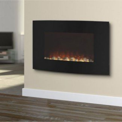 SupaWarm 2000W Curved Wall Mounted Fire SEWMF15