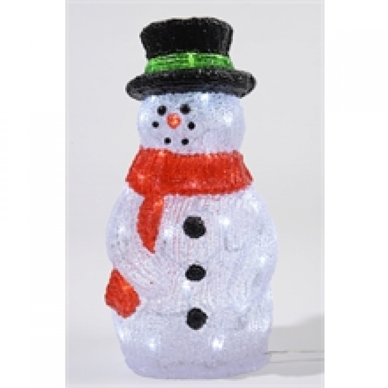 Acrylic 40cm Outdoor LED Snowman Cool White 331132