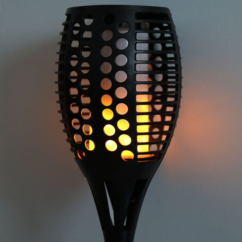 Deltech Solar Powered LED Flame Effect Rattan Style Spike Light