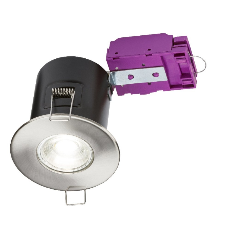 Knightsbridge 230V Fixed GU10 Fire-Rated Downlight Brushed Chrome