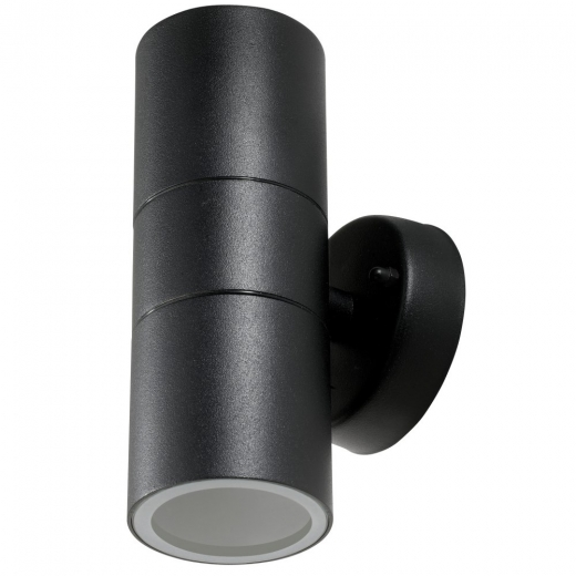 Twin IP44 Black UP/Down Wall Light With Glass Diffuser WALL2-BK