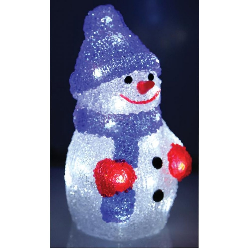 Acrylic 22cm LED Snowman Battery Operated - 319116