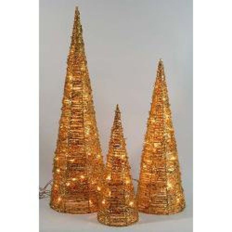 Gold Rattan Cones – Christmas and Festive Lights 705309