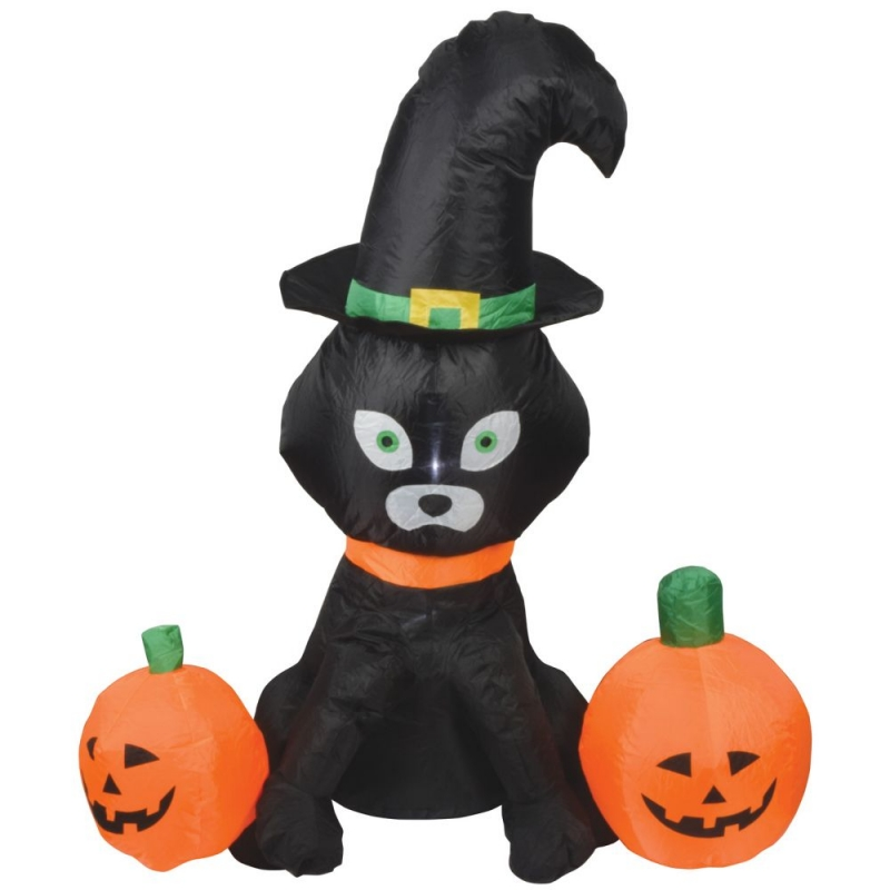 4ft Halloween Inflatable Cat and Pumpkins Display