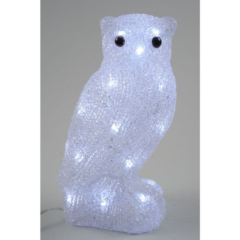 Acrylic LED Owl 30cm Cool White Outdoor Christmas Display 308191