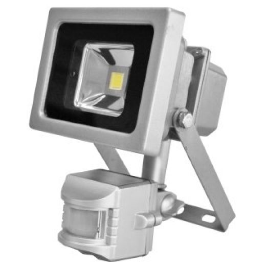 LED 10W PIR Shatter Resistant Floodlight Cool White