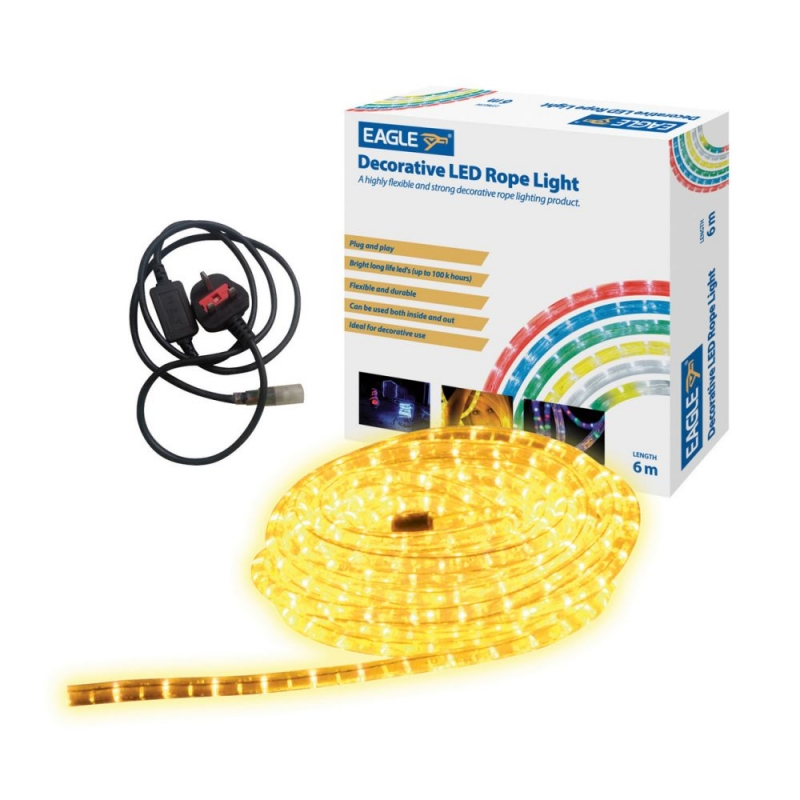 Yellow LED Rope Light for Indoor and Outdoor Use 6 Metre G601AD